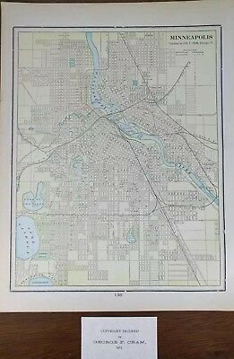 "1903 MINNEAPOLIS MINNESOTA Vintage Atlas Map 11""x14"" ~ Old Antique Original"