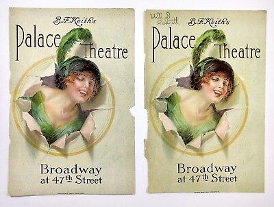 2 Vintage 1913 LG SZ The Palace Theatre Program Covers Djer-Kiss Ad Art Deco