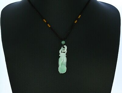 "1.9""China Certify Grade A Nature Hisui Jadeite Jade Fotune Hand & Coin Necklace"