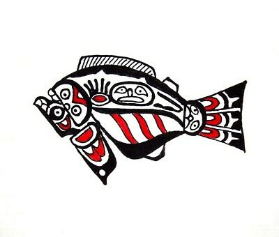 "Hand Painted Textile Art NW American Indian Halibut 9"" x 9"" White"