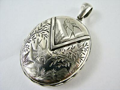 Antique 1880s Oval Locket Victorian Aesthetic Era Sterling Silver Art Nouveau