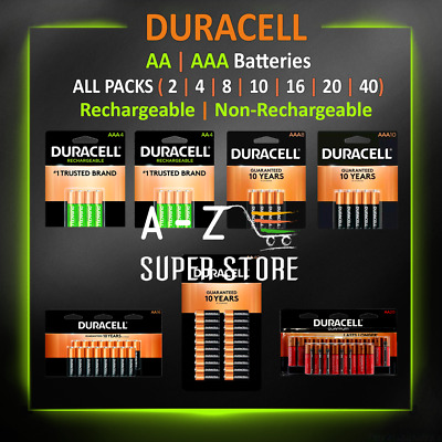 Duracell AA or AAA / Rechargeable NI-MH or Non-Rechargeable Batteries lot Packs
