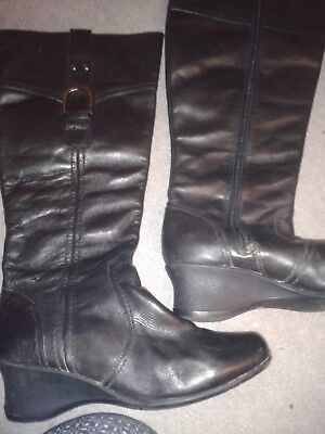 Next Black Leather Boots Size 5 Wedge Heel