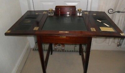 Antique French Mahogany Campaign Style Writing Desk Glass Ink wells Pen Stand