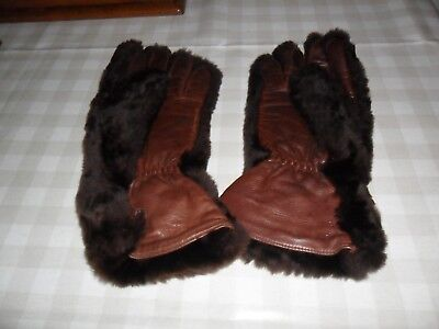 Vintage Dark Brown Leather /Faux Fur Gloves