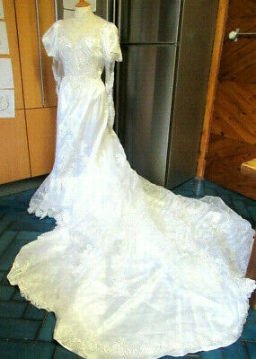 "Vintage Wedding Dress Fishtail Designer 12 - 14 36"" Bust White Train Beaded"