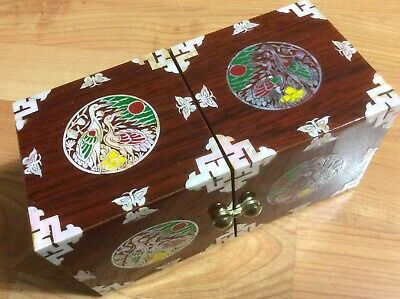Mother Of Pearl Oriental Inlay Wood Handmade Craftsman Jewerly Box.