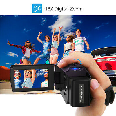 "3"" 1080P 48MP 16x Digital Zoom Camera Video Camcorder with 0.39X Wide Angle D1Y9"