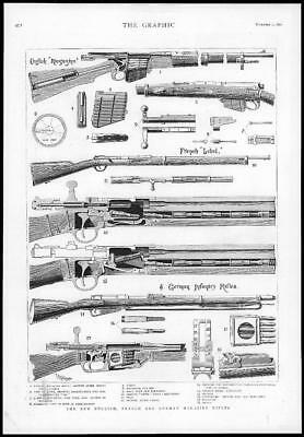 1890 Antique Print  - Rifles English French German Sections  Cartridges  (118)