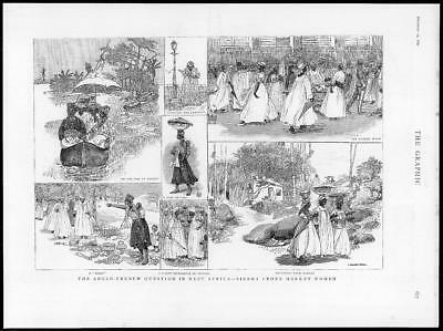 1890 Antique Print  - AFRICA Sierra Leone Market Women Anglo French   (272)