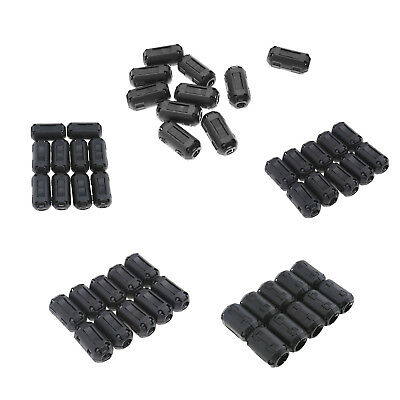 WW 10X Black Clip On EMI RFI Noise Ferrite Core Filter for 3.5mm/5mm/7mm/9mm/13m