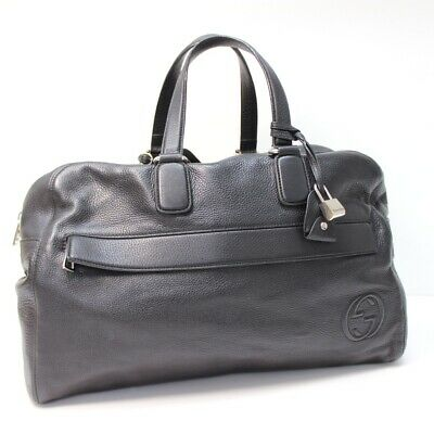 AUTHENTIC GUCCI Leather Carry-On Duffel Travel Bag Hand Bag Black 322055