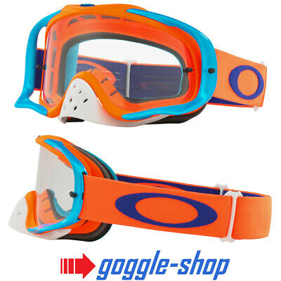 Oakley Crowbar Motocross Mx Enduro Bike Goggles - Flo Orange Blue / Clear Lens