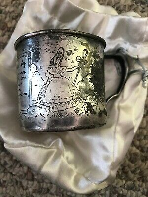 LITTLE BO PEEP Childs Cup~Wm A Roger 469 Engraved Silver Cup Early 1900's