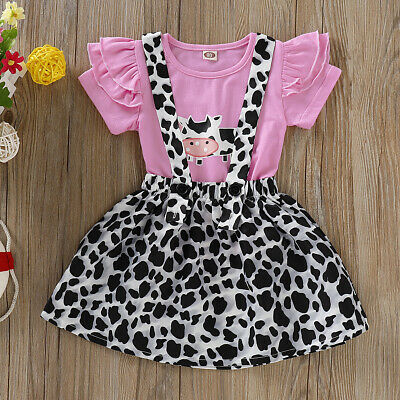 Girls Summer 2PCs Cow Printed Outfits Set Kids Holiday Top Skirt Dress Clothes