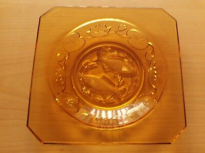 Vintage Art Deco Bagley Amber Glass Square Plate/Dish Fish & Water Lily Design.
