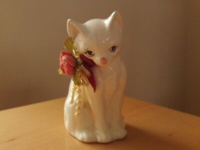 Ceramic Cat OrnamentFigurineWhite With Metal Detailing Collectable Gift