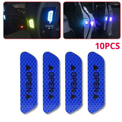 10PCS Auto Car Door Open Stickers Reflective Tape Safety Warning Decal Universal