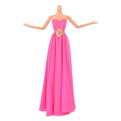 1 Pcs Rose Doll Dress with Flowers Evening Gown Manual Wedding DressHIYN