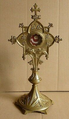 Antique Catholic gilded Bronze MONSTRANCE with RELIC & Red WAX SEAL,  Reliquary