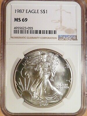 1987 American Silver Eagle, NGC graded MS69, 98% White, 1 oz Silver (055)