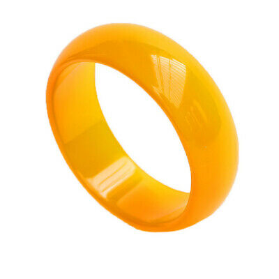 Certified Genuine Natural Grade Agate Bangle Jelly Yellow Flat Bracelet 54~64mm