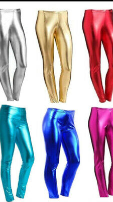 05e96b9ac007f Kids Girls Shiny Wet Look Stretchy Disco Party Leggings Size Age 5yr-13yr