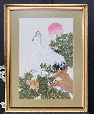 Tapestry Vintage Silk Hand Sewn Tapestry Storks at Nest - Embroidery Needlework