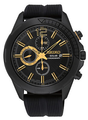 Seiko Men's  Recraft Solar Chronograph Black Ion Stainless Steel Watch SSC385