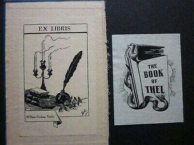 TWO BOOKPLATES EX LIBRIS x 2  - WILLIAM GRAHAM TAYLOR - THE BOOK OF THEL