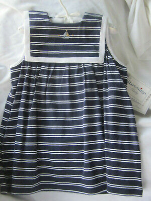 0c5be5135ac5d2 Hartstrings Navy White Stripe Soft Supima Cotton Sailor Toddler Dress 18 mo  NWT