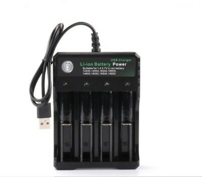 1x Smart USB 4 Slots Recharging Battery Charger For Li-Ion 18650 18500 Universal