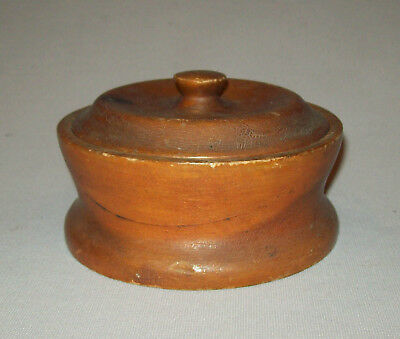Antique vtg late 19th C 1890s Turned Wooden Sugar Bowl Covered Box Signed nice