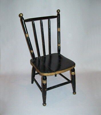 Old Antique Vtg 19th C 1890s Rod Back Fancy Youth Chair Nice Black Gold Paint
