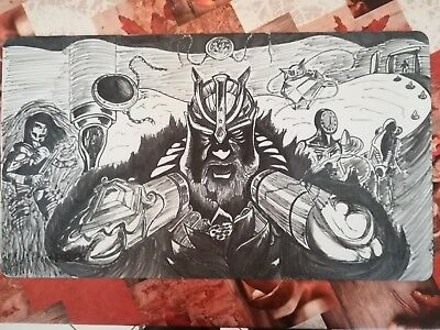 Mtg Magic Hand Painted Playmat, P9 composition. Black Lotus, Ancestral, Moxes