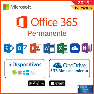 Microsoft Office pro 365 - 2016 2019 PC/Mac/Windows 5TB 5User