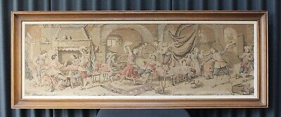 Antique Tapestry Embroidery Wall Hanging Art Vintage Framed 5ft Long