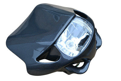 Carbon Look Motorbike Headlight Streetfighter Supermoto Motocross BLEMISHED