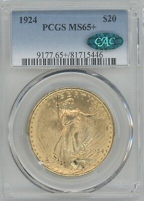 1924  Gold Double Eagle, St. Gaudens,  Graded Ms65+ By Pcgs With A Cac Sticker