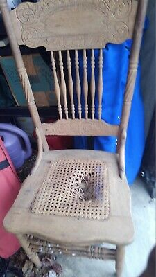 Antique Pressed Back Oak Cane Chair two BOTH NEED re caned. PICK UP ONLY 17603