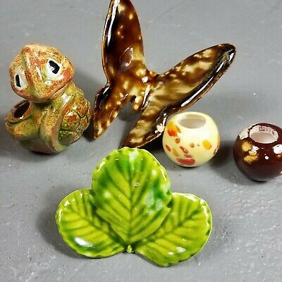 70s Vintage lot of Macrame beads decorative accents ceramic turtle butterfly