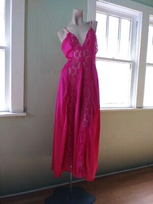 VTG 1980s Hot Pink Lacy Olga Nightgown Nightie 80s Lingerie Sz L