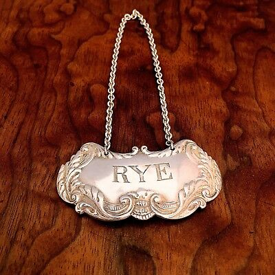 American Sterling Silver Rye Bottle Tag: No Monograms