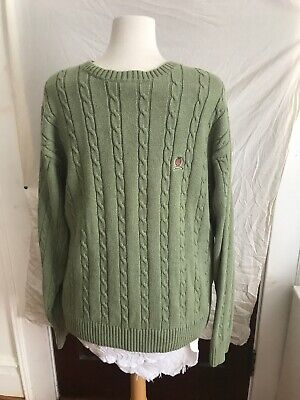 5132210c9 TOMMY HILFIGER Vintage 90s Men's Green Cotton Cable Knit Sweater Size XL  Creast
