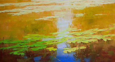 WateLilies Large Handmade oil Painting Impressionism Painting for Living room