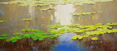 Water Lilies Garden Original oil Painting Impressionism Handmade Large Size