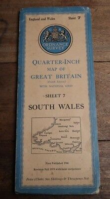 Ordnance Survey Cloth Map South Wales Quarter Inch Sheet 7 1946 Cardigan Cardiff