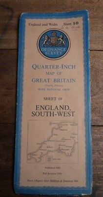 Ordnance Survey Map SW England Quarter Inch Sheet 10 1946 Exeter Penzance Lundy