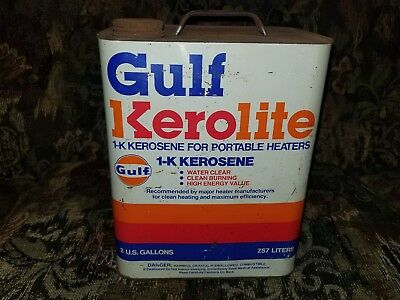 Original Vintage Metal 2 Gallon Gulf Advertising Kerolite Kerosene oil gas can