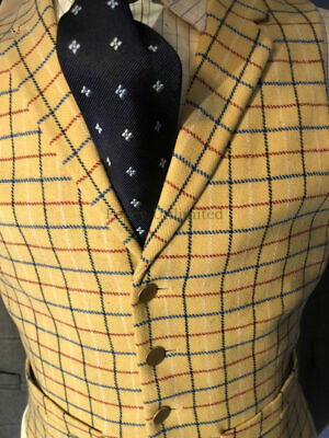"Vintage Tattersall Yellow Wool Doeskin Waistcoat/Vest 38"" Chest"